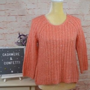 Anthro Knitted & Knotted Orange Sweater Sequin A8